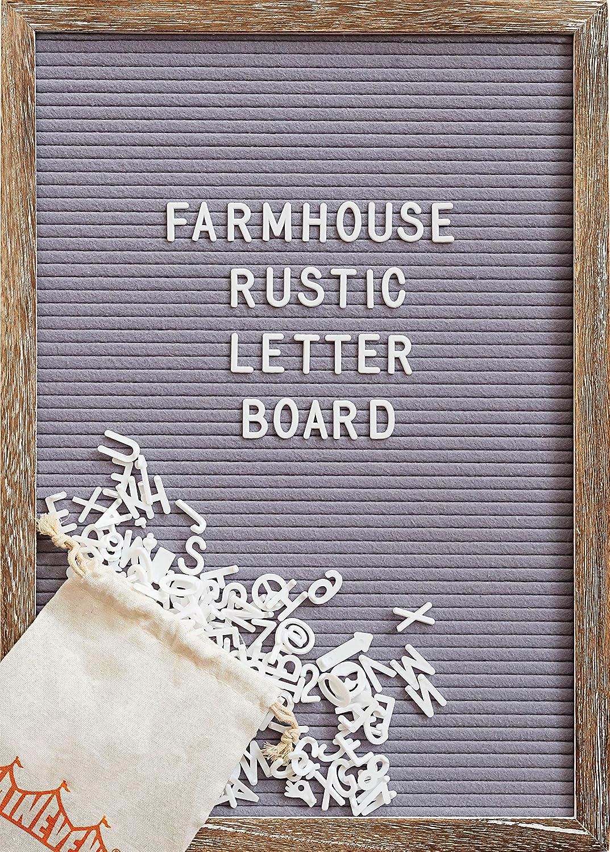 Felt Letter Board with 12x17 Inch Rustic Wood Frame, Script Words, Precut Letters, Picture Hangers, Farmhouse Wall Decor, Shabby Chic Vintage Decor, Grey Felt Message Board