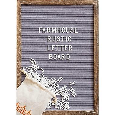 Felt Letter Board with 12x17 Inch Rustic Wood Frame, Script Words, Precut Letters, Picture Hangers | Farmhouse Wall Decor | Shabby Chic Vintage Decor | Grey Felt Message Board