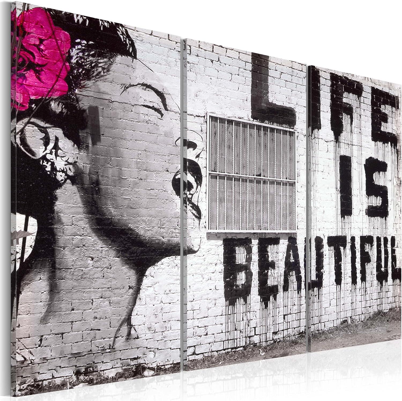 murando - Cuadro en Lienzo 60x40 - Impresión de 3 Piezas Material Tejido no Tejido Impresión Artística Imagen Gráfica Decoracion de Pared Banksy 030115-3