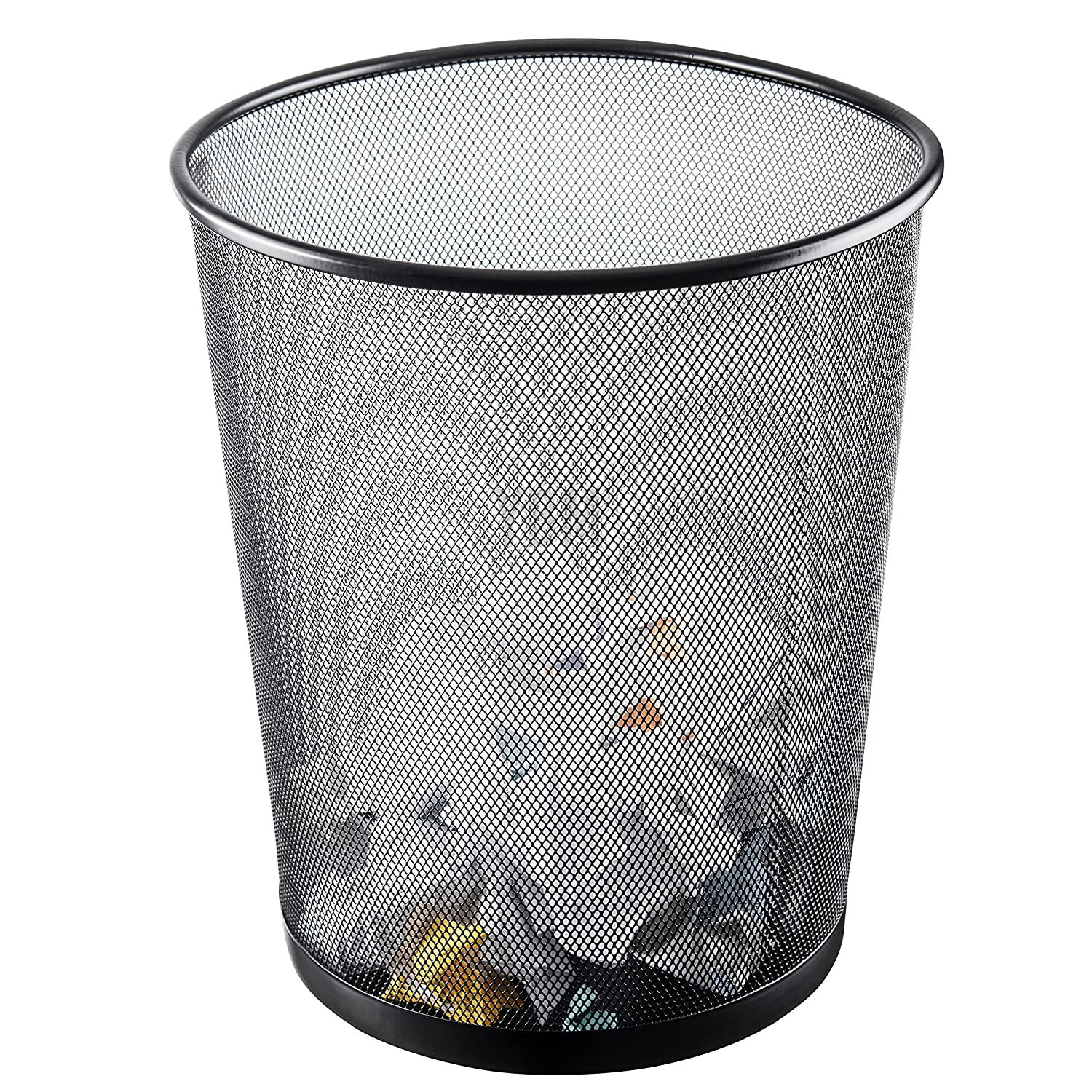 Ybmhome Steel Mesh Round Open Top Waste Basket Bin Trash Can for Office Home 2485 1, Silver