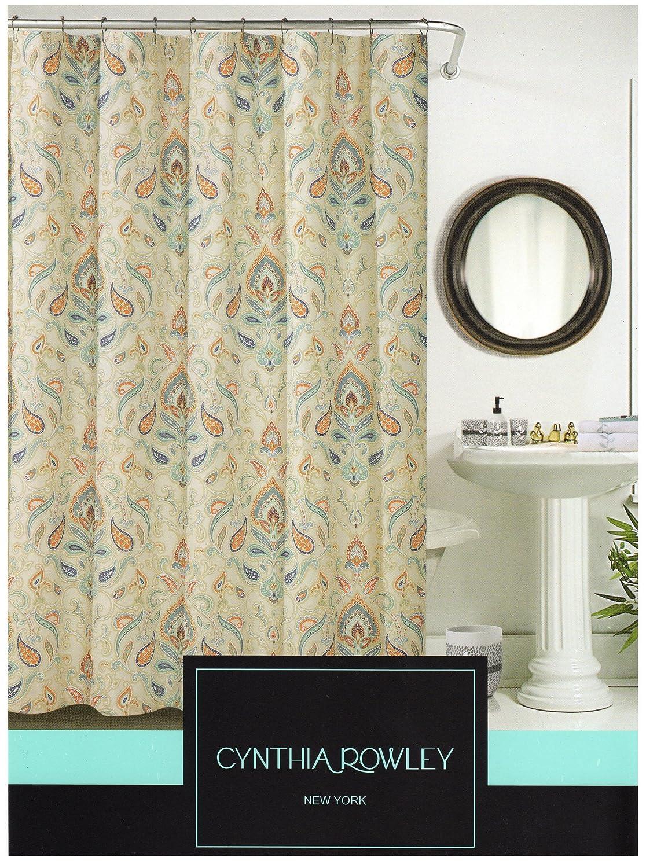 Cynthia rowley medallion shower curtain - Amazon Com Cynthia Rowley Ischia Paisley Fabric Shower Curtain In Shades Of Burnt Orange Seafoam Green Aqua Beige White Grey Home Kitchen