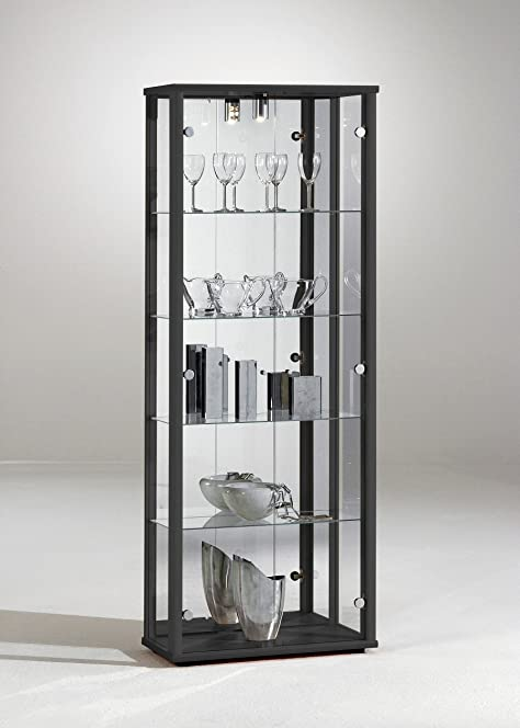 Glass Display Cabinet Unit 2 Door - Black, Silver or Oak effect ...