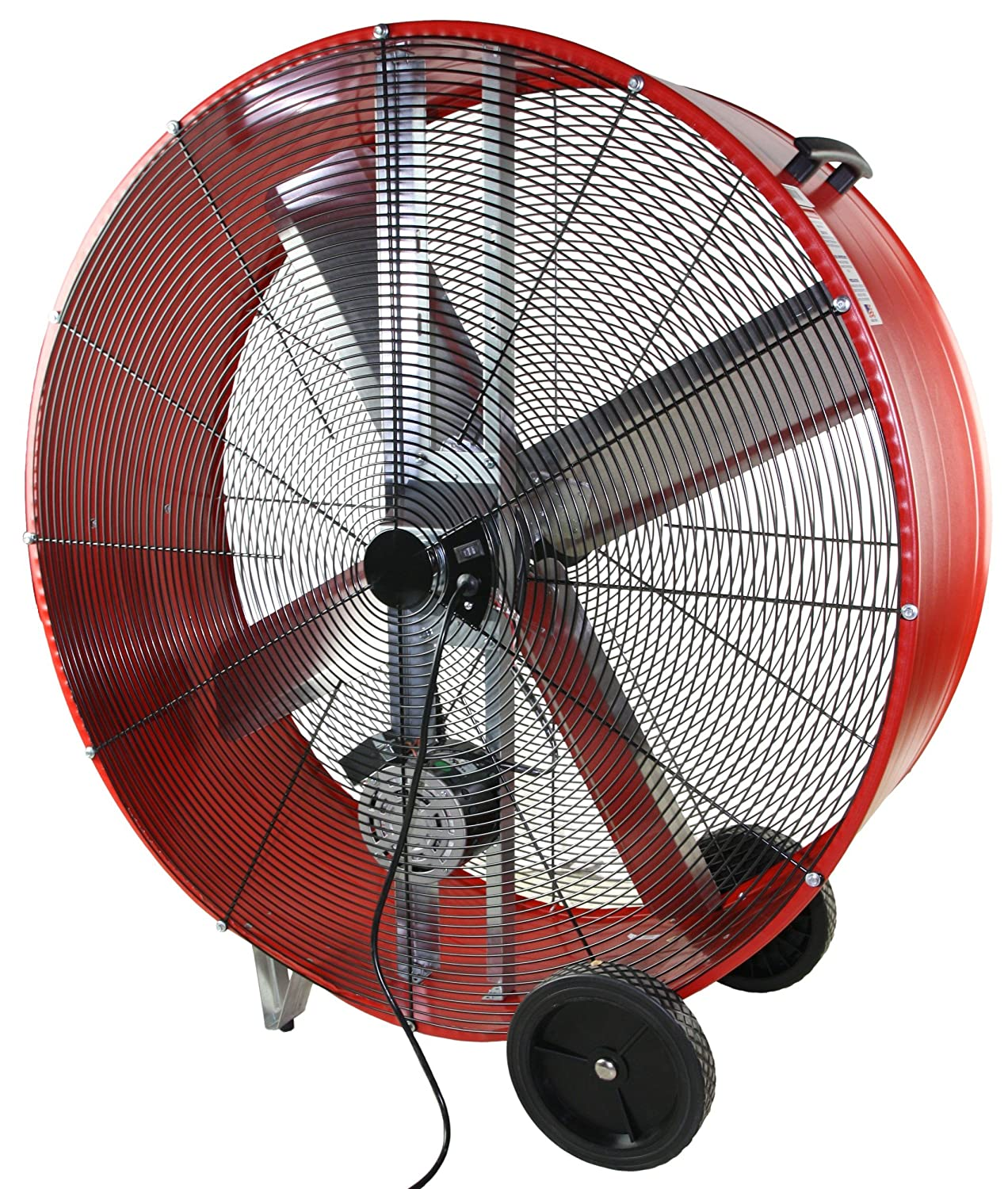MaxxAir BF42BD High Velocity 2-Speed Belt Drive Drum Fan, Heavy Duty  Potable Barrel Fan, 42-Inches, 13300 CFM, Red - Bathroom Fans - Amazon.com