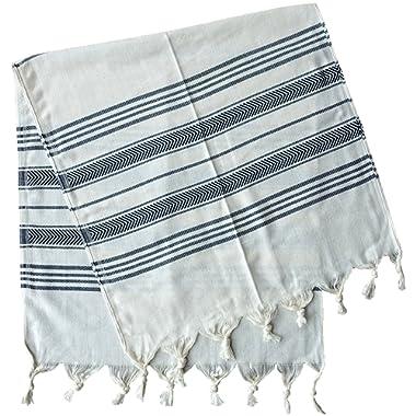 Dandelion - Ivory Basic Pattern - Set of 2 Naturally-Dyed Cotton Turkish Hand Towels Peshkir - 38x19 Inches - Black