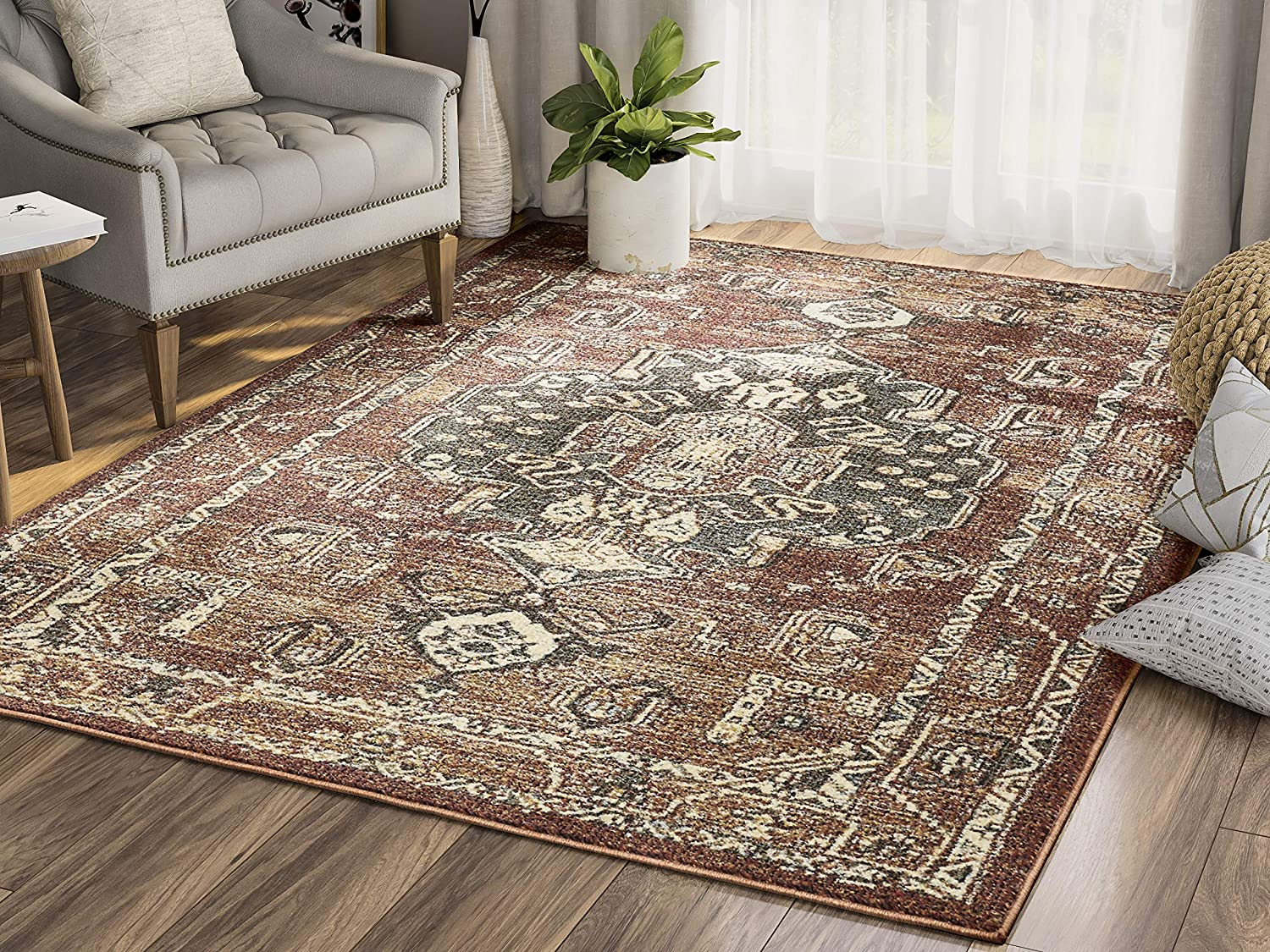 Abani Rugs Orange Green Beige Distressed Medallion Area Rug Southwestern Vintage Style Accent Mesa Collection Turkish Made Superior Comfort Construction Stain Shed Resistant 4 X 6 Feet Kitchen Dining Amazon Com