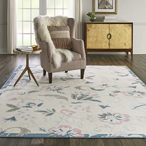 Nourison Jubilant Floral Casual Ivory/Multicolor Area Rug 7'10″ x 9'10″