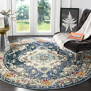 """Safavieh Monaco Collection MNC243N Vintage Bohemian Navy and Light Blue Distressed Round Area Rug (6'7"""" in Diameter)"""