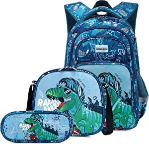 3Pcs Boys Dinosaur Backpack Set with Lunch Box Pencil Case, School Book Bag for Kids Elementary Preschool