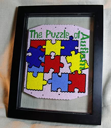 The Puzzle of Autism Framed Fully Beadwoven Artwork