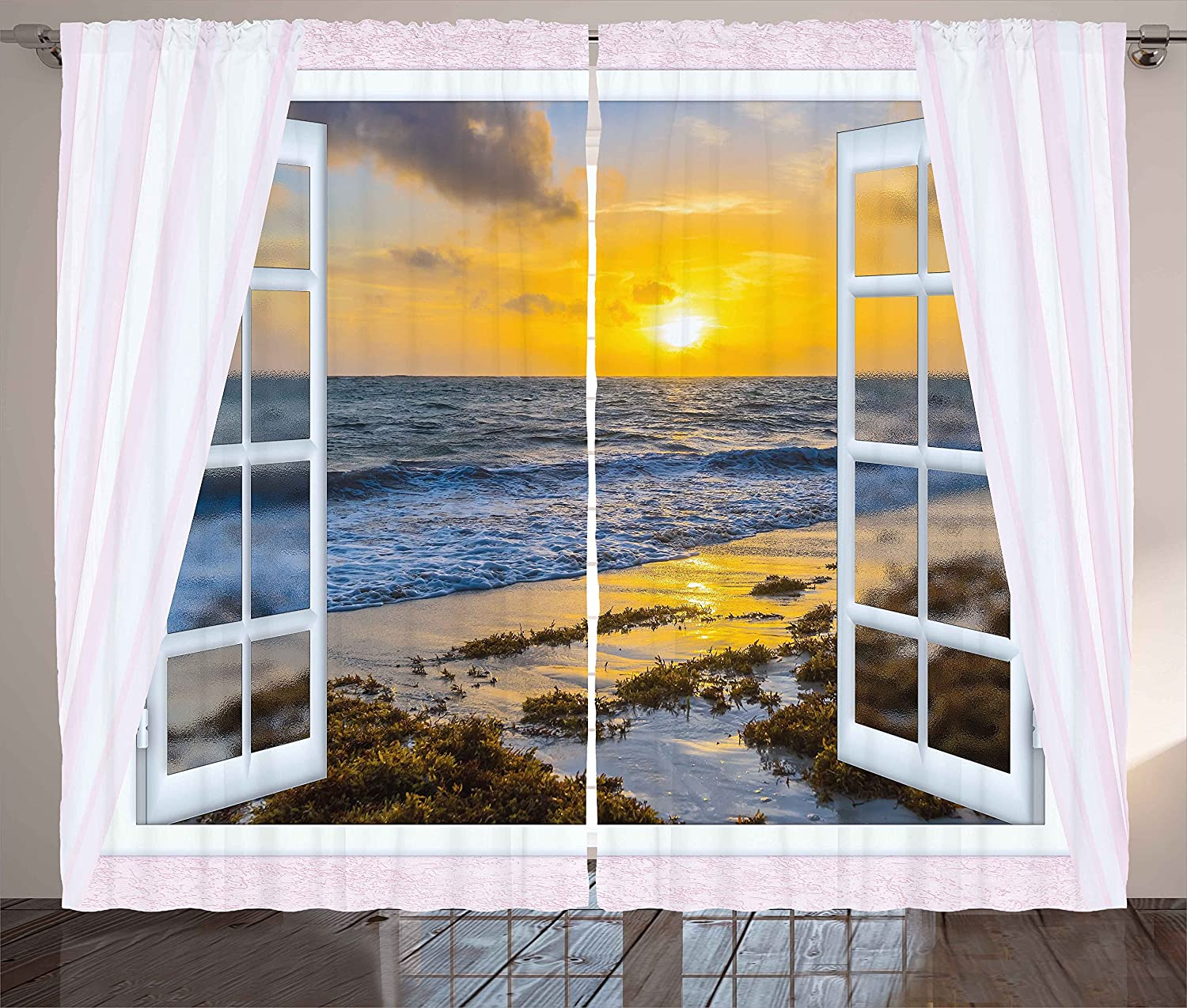 """Ambesonne Coastal Curtains, Open Window View of The Sky with Clouds Rising Sun Seascape Grass Morning Scenery, Living Room Bedroom Window Drapes 2 Panel Set, 108"""" X 84"""", White Yellow"""