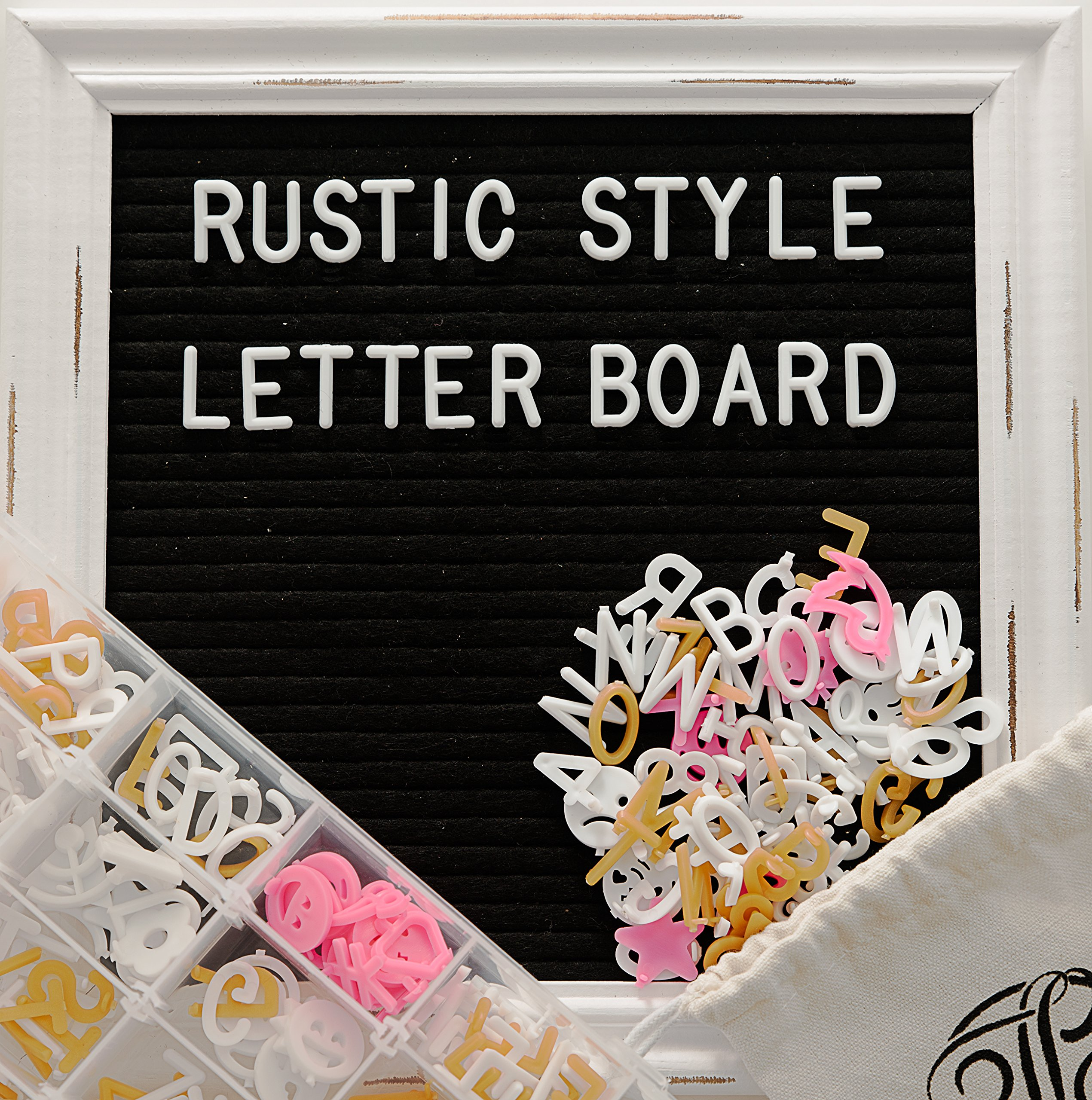 Letter Board - Rustic White Wood Vintage Frame, Black Felt 10x10 Inch Antique Changeable Message Board, Sorting Tray, 525 Precut White, Gold, Pink Letters, Numbers, Emojis, Stand, Cotton Bag JL Brands