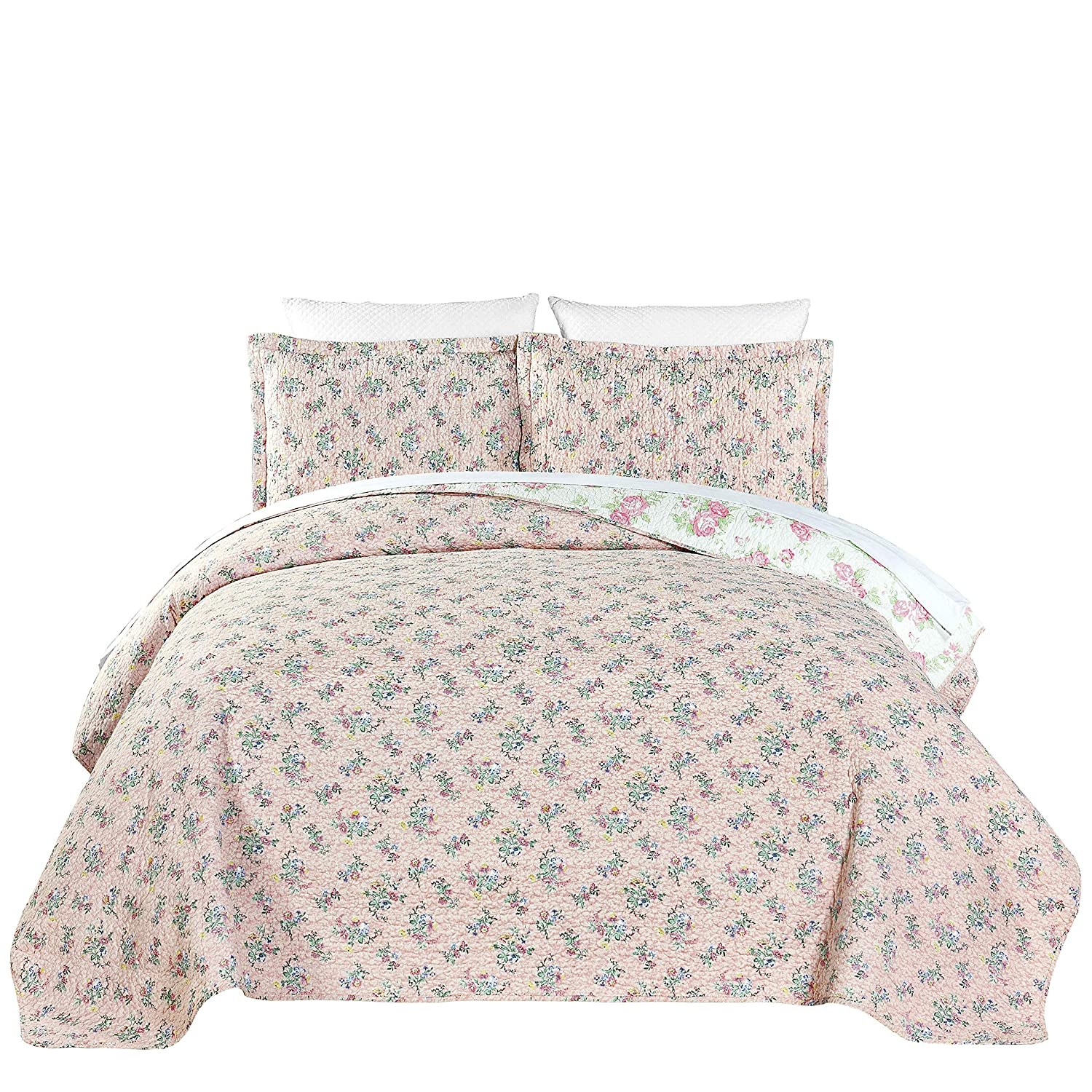 Chezmoi Collection 3-Piece Pink Rose Floral Garden Reversible Vintage Washed 100%-Cotton Quilt Set (Queen) Green Living Group