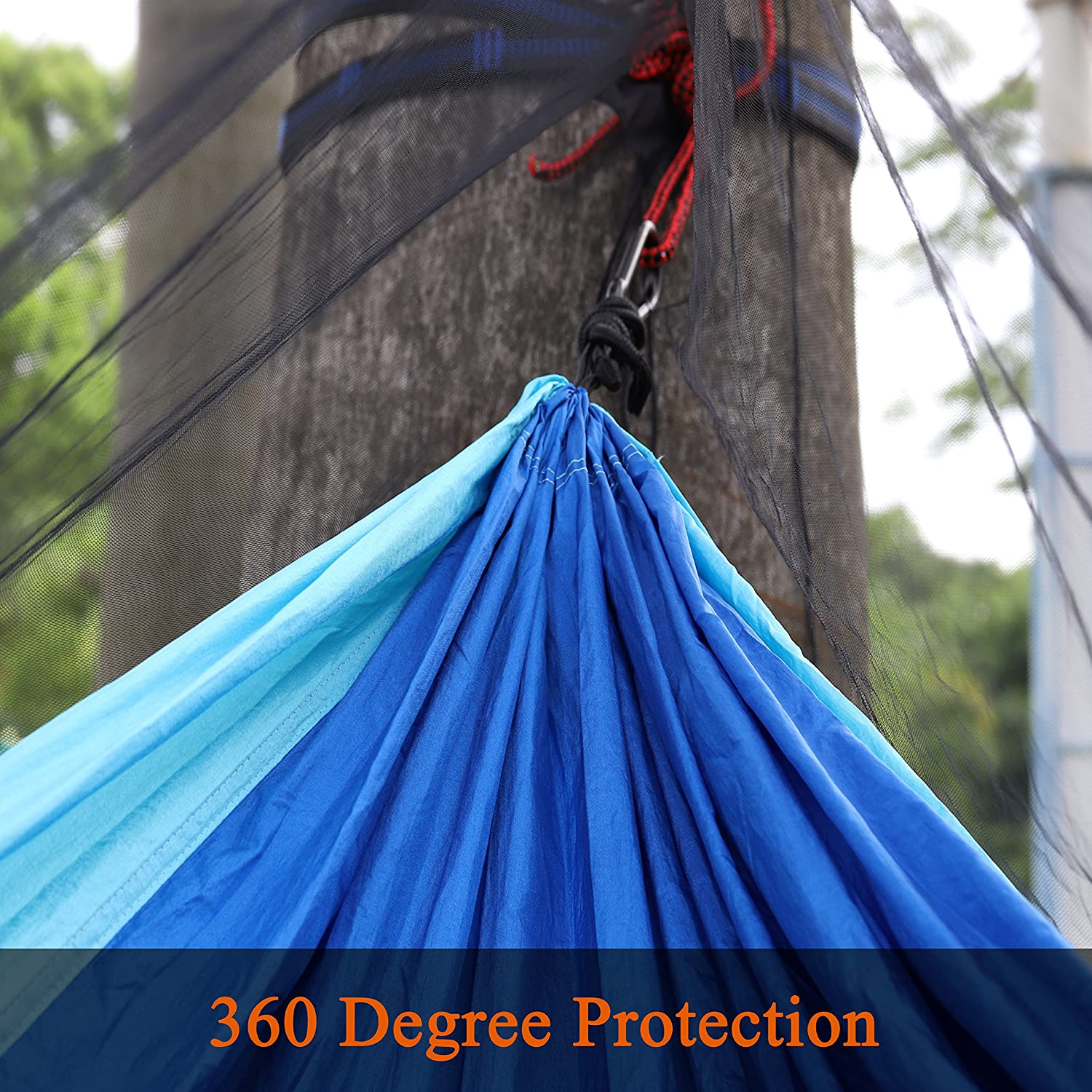 Double Sided Zipper for Easy Access Fit for ALL Camping Hammocks ALUCKY Harmmock Bug Net Camping Mosquito Net No See Ums /& Repels Insects Polyester netting for 360 Degree Protection