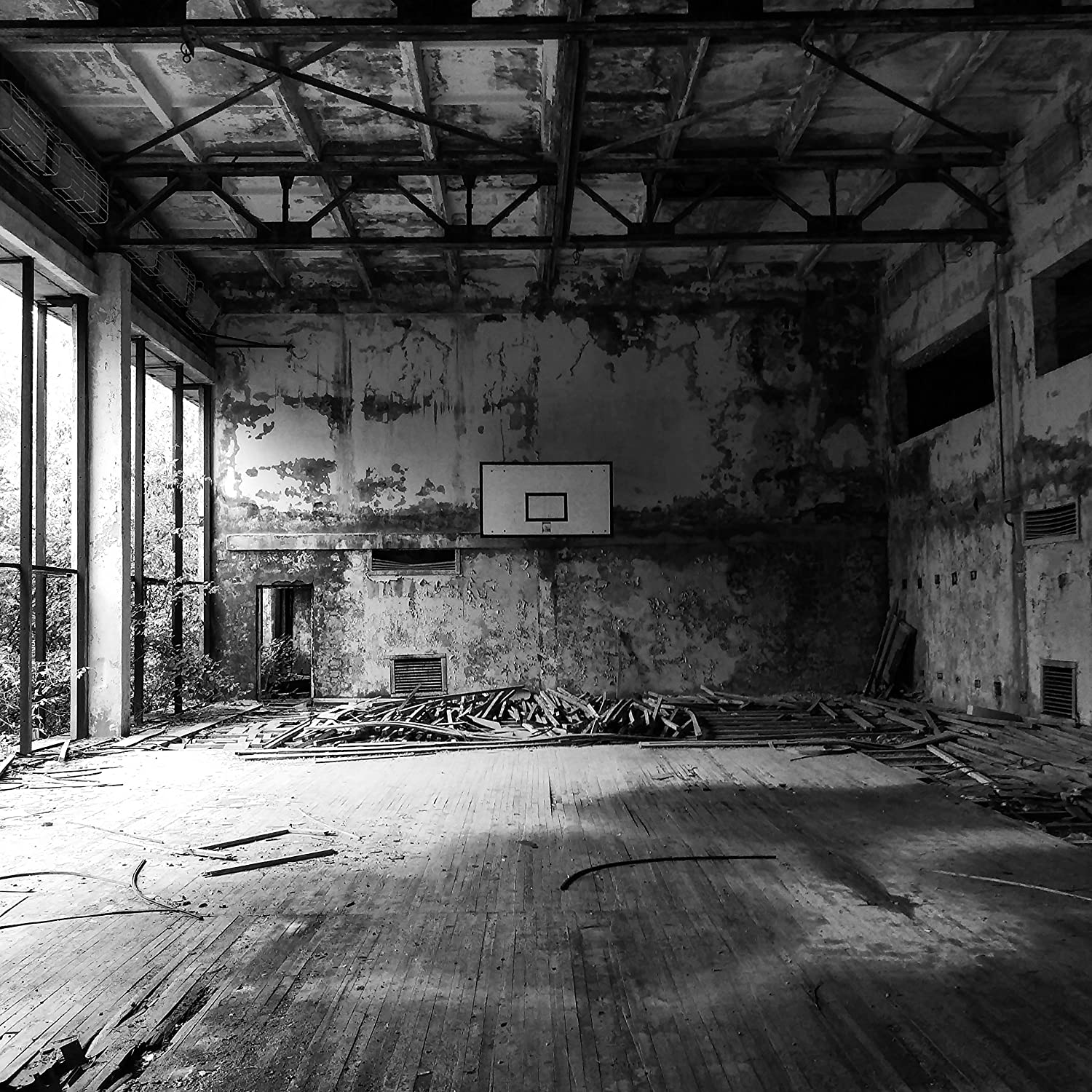 Amazon com chernobyl photography pripyat photography ukraine photography ukraine art black and white basketball court ghost town abandoned