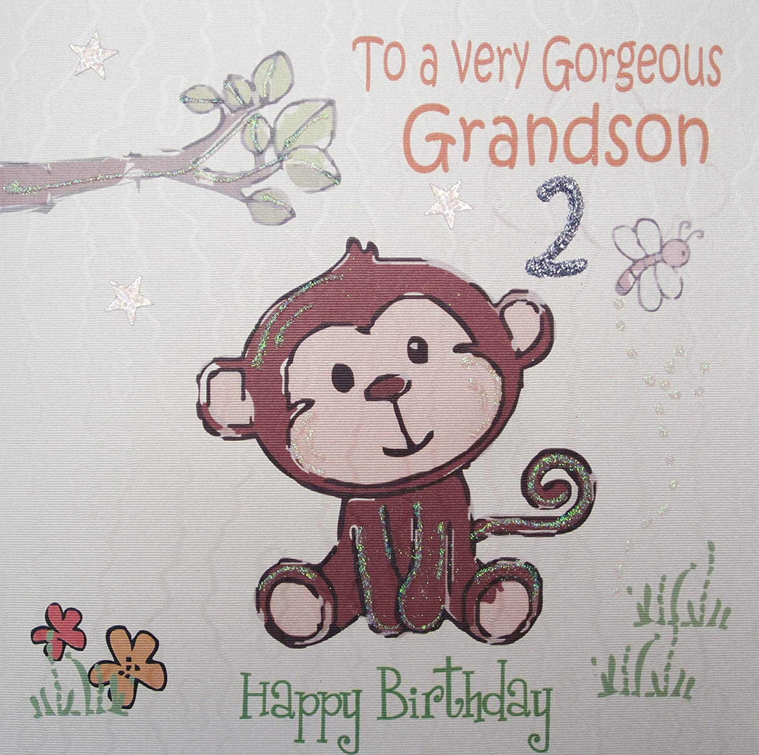 WHITE COTTON CARDS To A Very Gorgeous Grandson 2 Happy Handmade 2nd Birthday Card Cheeky Monkey Amazoncouk Kitchen Home