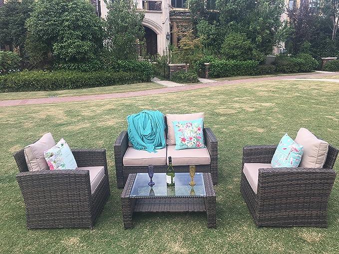 /Set mobili da Giardino in Rattan Divano Set Tavolo e sedie/ 1- /Marrone Chiaro YAKOE 70002/128/x 72/x 78/cm/