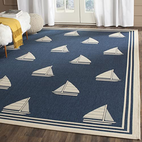 Safavieh Courtyard Collection CY7422-258A2 Navy and Beige Indoor Outdoor Area Rug 8 x 11