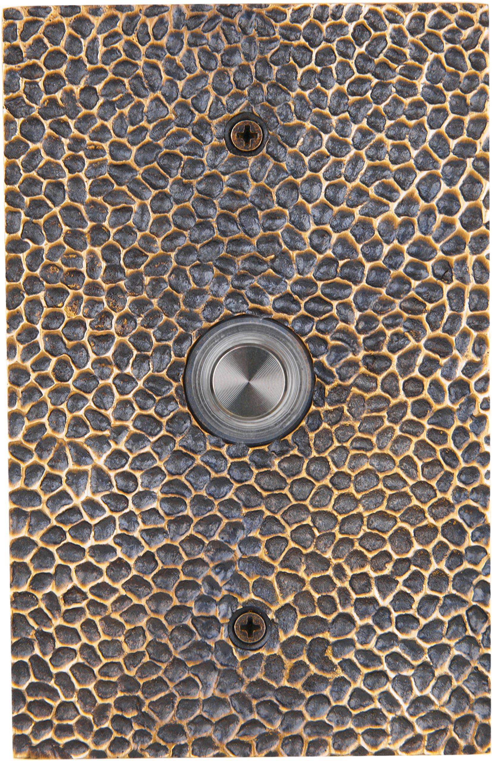 Waterwood Solid Brass Large Hammered Doorbell in Antique Brass