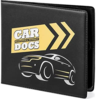 Black Vinyl Case ANDALUS Auto Car Truck Motorcycle Registration and Insurance Document Holder Wallet 3 Pack Keeps Glove Compartment Organized Strong Velcro Closure