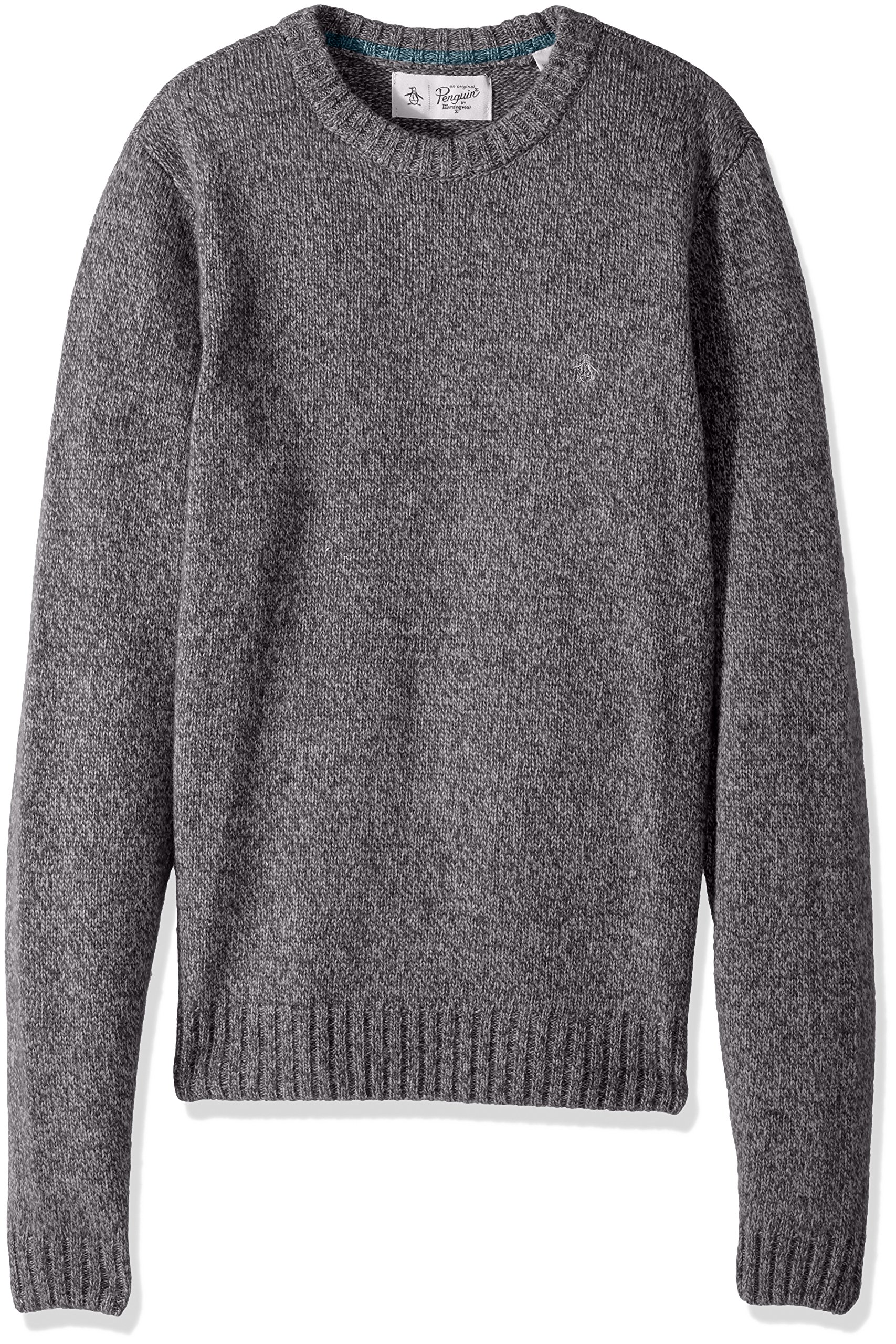 Original Penguin Men's Twisted Yarn Crew Sweater, Steel Gray, Large by Original Penguin