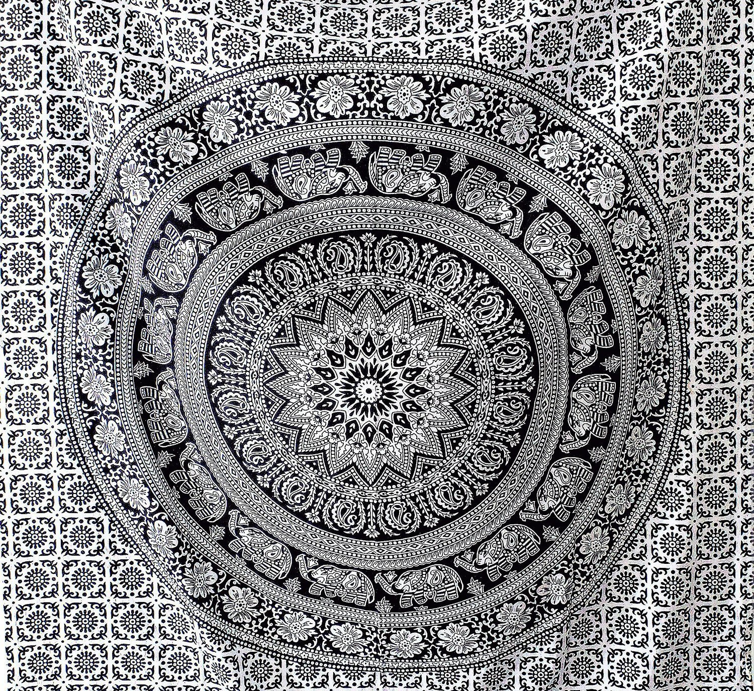 Popular Handicrafts Black and White Hippie tapestries Mandala Tapestry Collage dorm Beach Throw Wall Art Bohemian tapestryWall Hanging Boho tapestries Bedspread (Full (215cmsx230cms), Black & White)