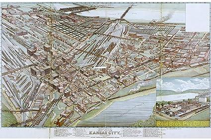 Amazon.com: Birdseye Map of Kansas City, Missouri by Koch; 1895 ...
