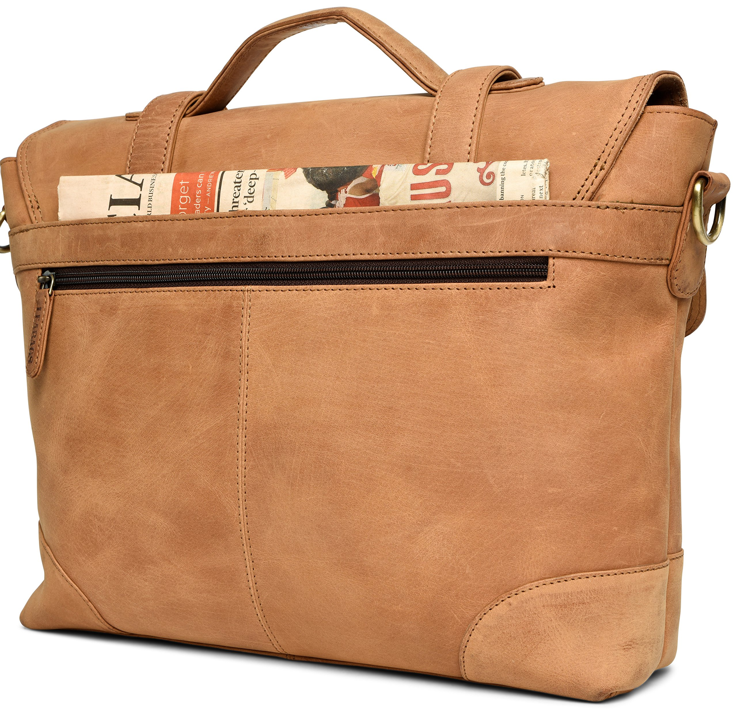 LEABAGS Liverpool genuine buffalo leather briefcase in vintage style - Brown by LEABAGS (Image #4)