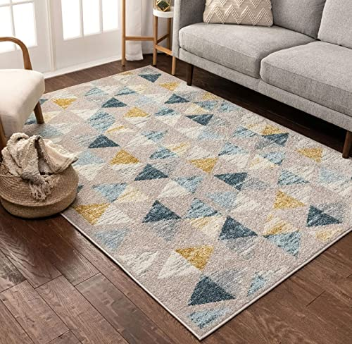 Well Woven Mystic Simone Gold Modern Geometric 7'10″ x 9'10″ Distressed Area Rug