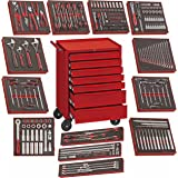 Teng Tools 240 Piece Complete Mixed EVA Foam General Hand Tool Kit With Free Heavy Duty Toolbox Storage Roller Cabinet…
