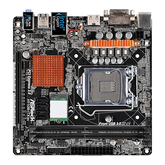 ASRock H110M-ITX/AC - Placa Base Mini-ITX (Chipset Intel H110, Socket 1151, 2X DDR4, Máx. 32GB, DVI-D, HDMI, 4X SATA3, 1x M.2, 1x PCIe 3.0 x16, ...