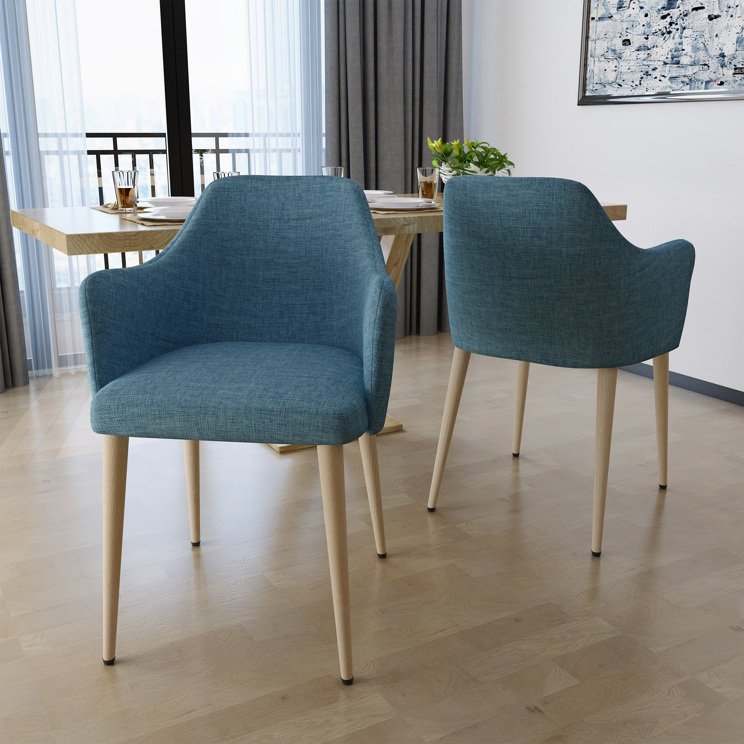 Nadya Mid Century Muted Blue Fabric Dining Chairs with Light Walnut Wood Finished Legs (Set of 2) by Great Deal Furniture