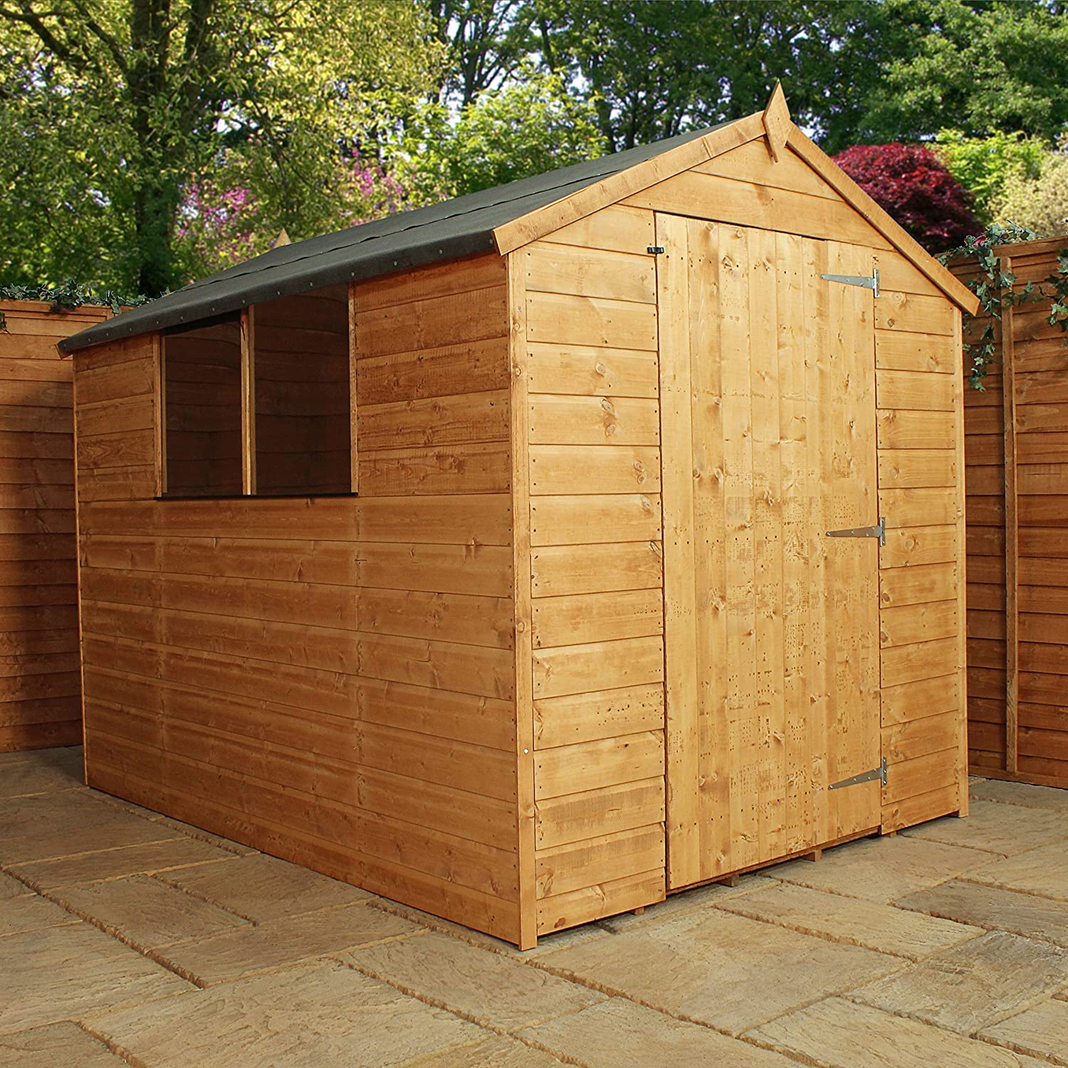8x6 shiplap wooden apex garden shed large single door felt included by waltons amazoncouk garden outdoors - Garden Sheds Wooden