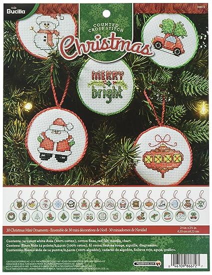 Bucilla Counted Cross Stitch Mini Ornament Kit 86672 Christmas Set Of 30