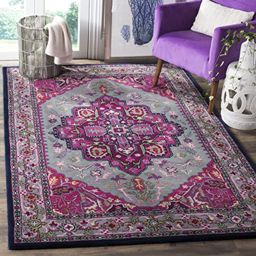 Safavieh Bellagio Collection BLG541B Grey and Pink Bohemian Medallion Premium Wool Area Rug 2 x 3