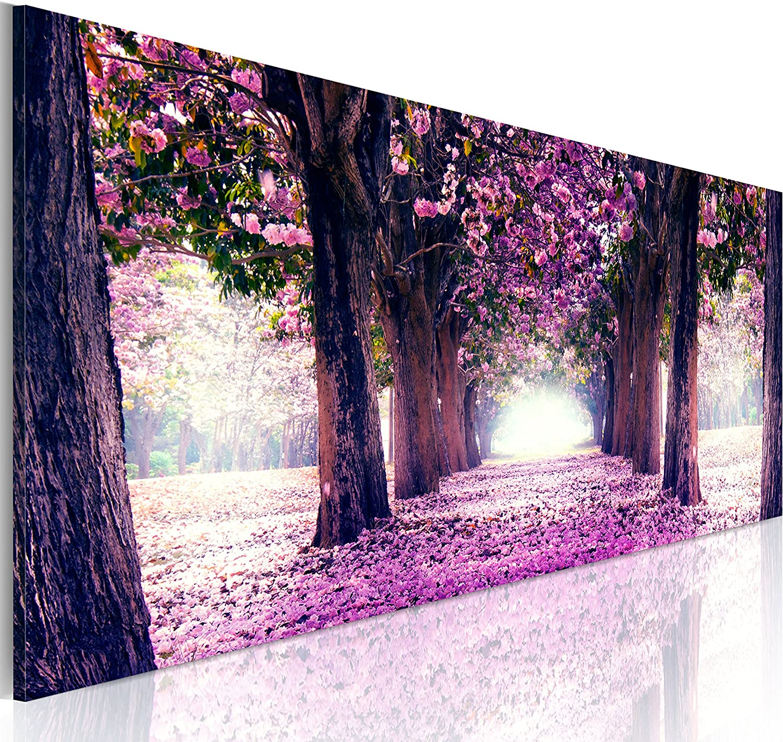 murando Cuadro en Lienzo Bosque Flores 135x45 cm 1 Parte impresión en Material Tejido no Tejido Cuadro de Pared impresión artística fotografía gráfica decoración Naturaleza Paisaje c-A-0052-b-d