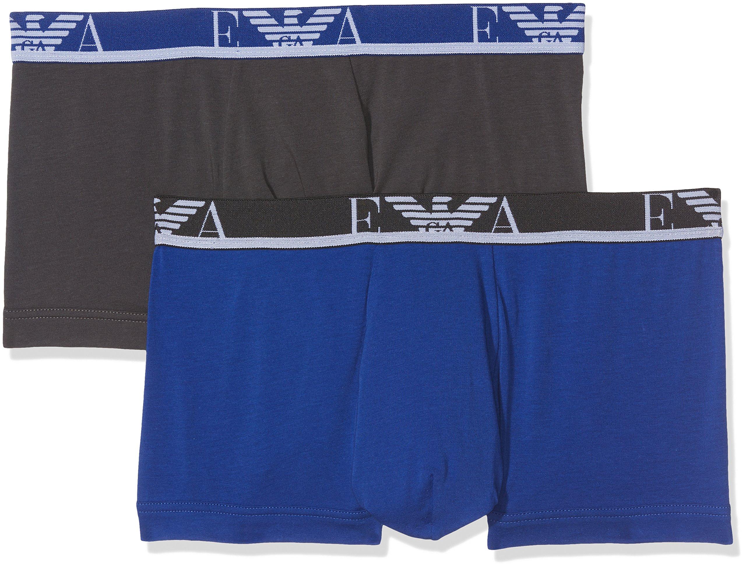 Emporio Armani Men's Monogram 2-Pack Trunk, Smoke/Electric Blue, Medium