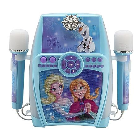 eKids FR-615 Disney Frozen Karaoke Maschine mit Aufnahme-Funktion und 2 Mikrofonen für Kinder; Audio-Anschluss für Smartphone