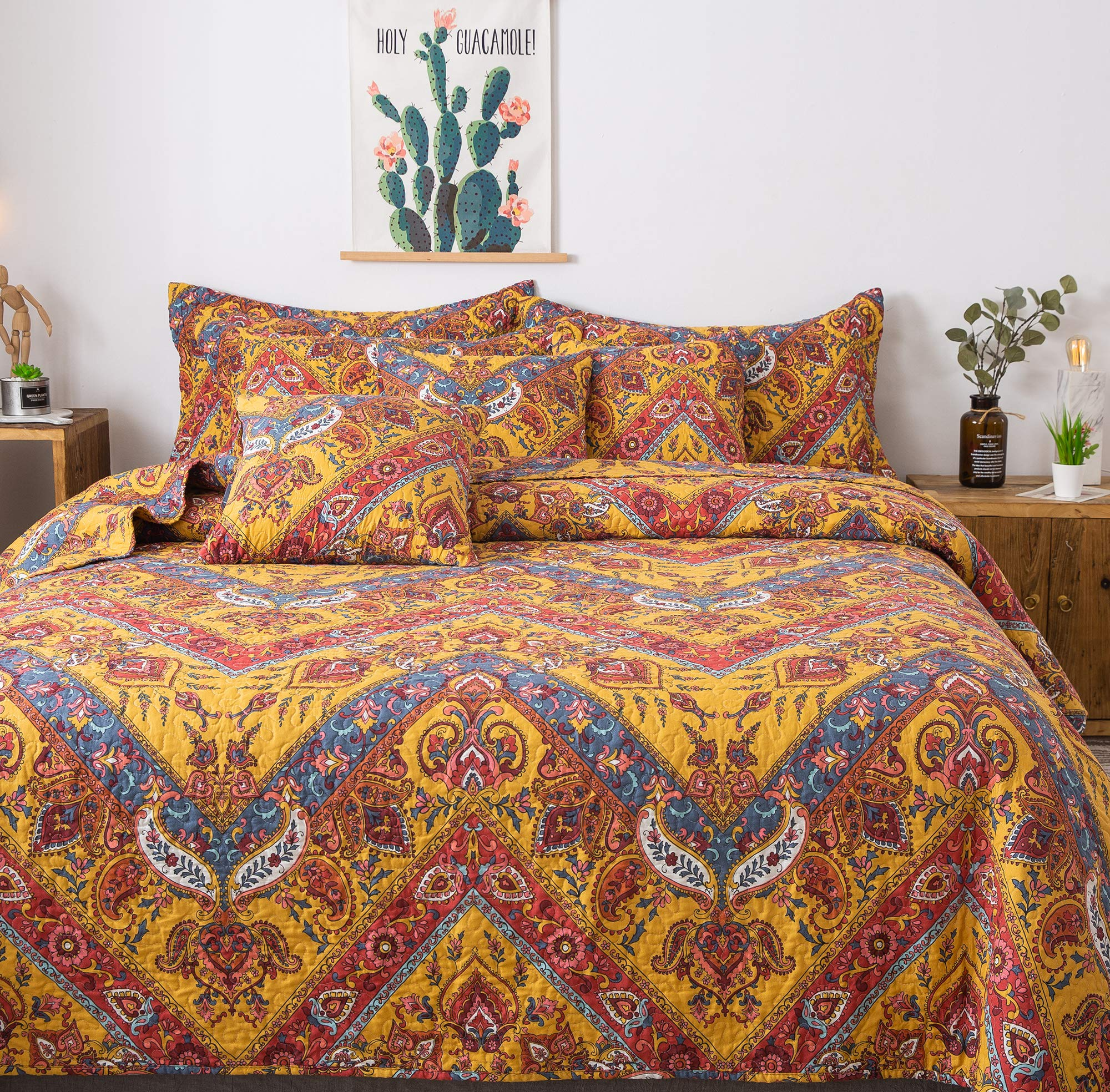 Tache Hanging Gardens Boho Chic Exotic Yellow Red Blue - Floral Colorful Paisley Chevron Reversible Matelassé Bedspread Coverlet - 3 Piece Set - King