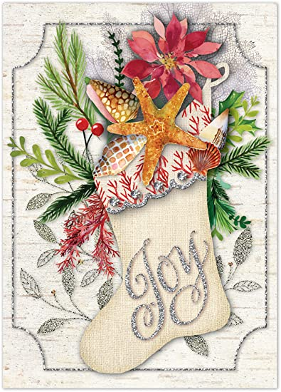 beachy stocking with shells christmas cards with gems and glitter embellishments by punch studio set
