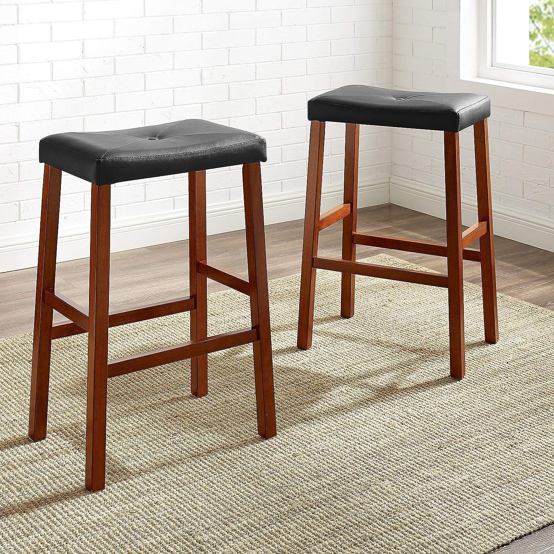 Classic Cherry Set of 2 Crosley Furniture Upholstered Saddle Seat 24-inch Bar Stool