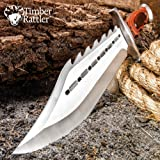 """Timber Rattler Sinful Spiked Bowie Knife with Nylon Sheath - Spiked Back Blade, Ergonomic Hardwood Handle - 15"""" Length"""