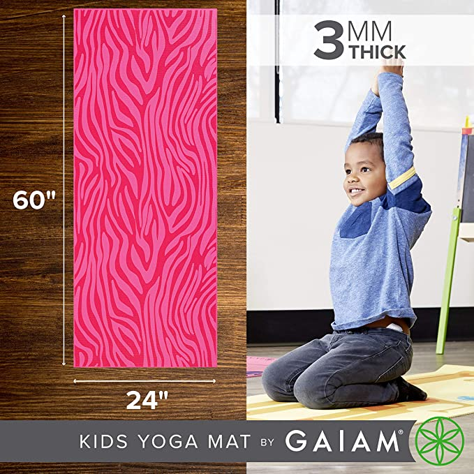 gaiam - Esterilla de Yoga para niños, Color Pink Zebra ...