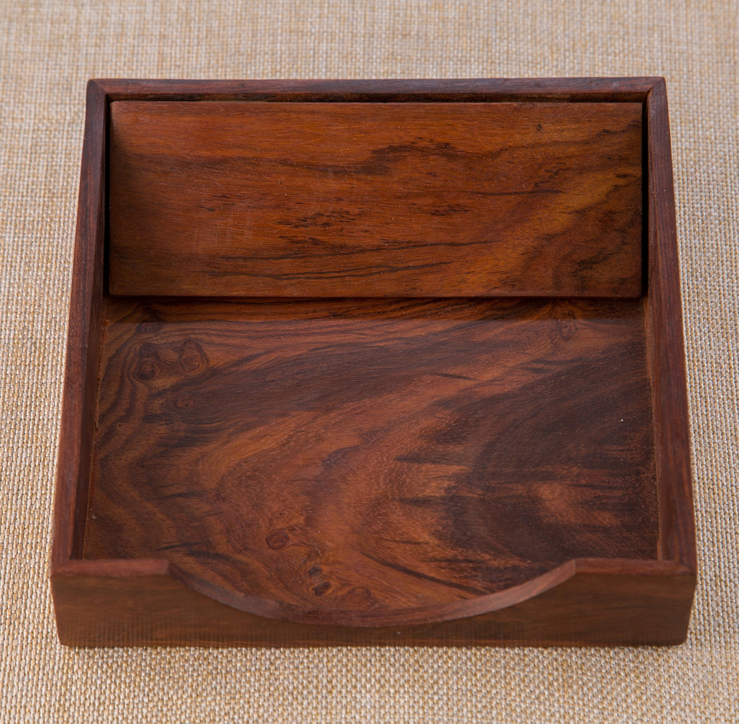 Rusticity Wood Paper Napkin Holder for Napkin and Tissues - Sleek Design | Handmade | (7x7 in) by Rusticity (Image #3)