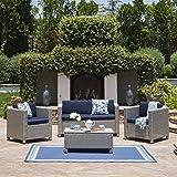 Christopher Knight Home 301015 Puerta Patio Set, Chalk/Navy Blue