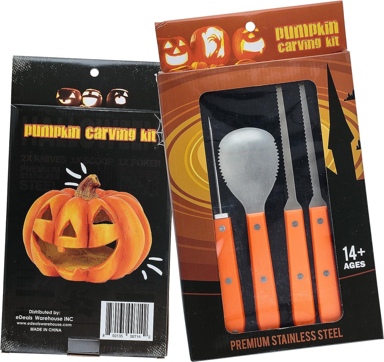 100 ml FAUX SANG Halloween Deluxe 4 Piece Pumpkin Carving Kit 6 POCHOIR FEUILLES