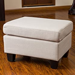 Great Deal Furniture 239320 Christabel Beige Fabric Ottoman Footstool