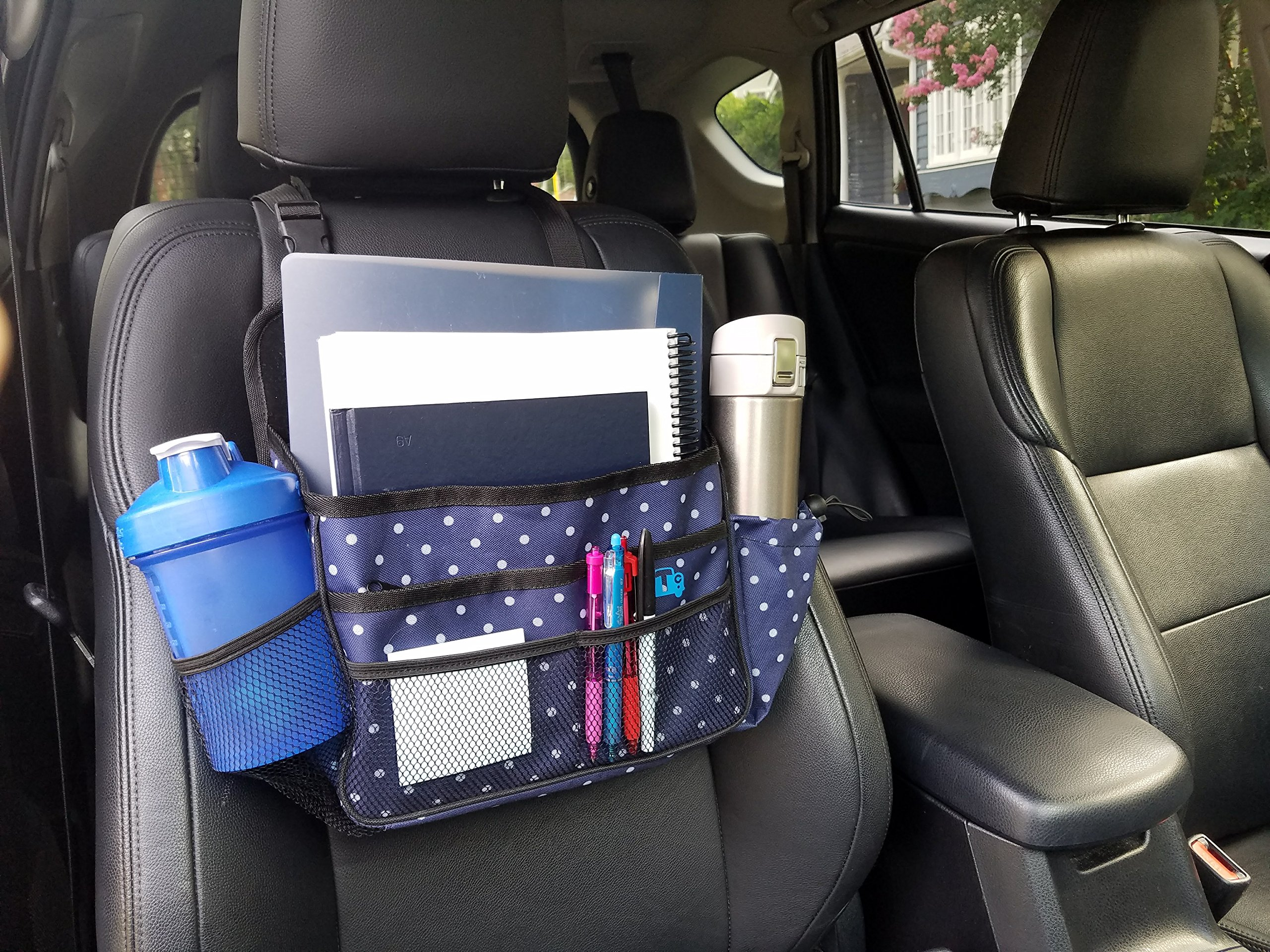Think Clean Car Front Seat Organizer By Polka Dot Navy White
