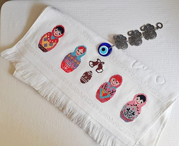 Rn Embroidery Hand Embroidery 100 Turkish Cotton Hand Towels White