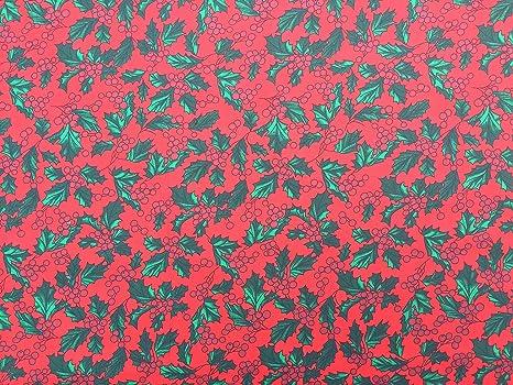 Rojo y Blanco de la Tela Polycotton Ho Ho Ho Navidad 112cm ancho//metro