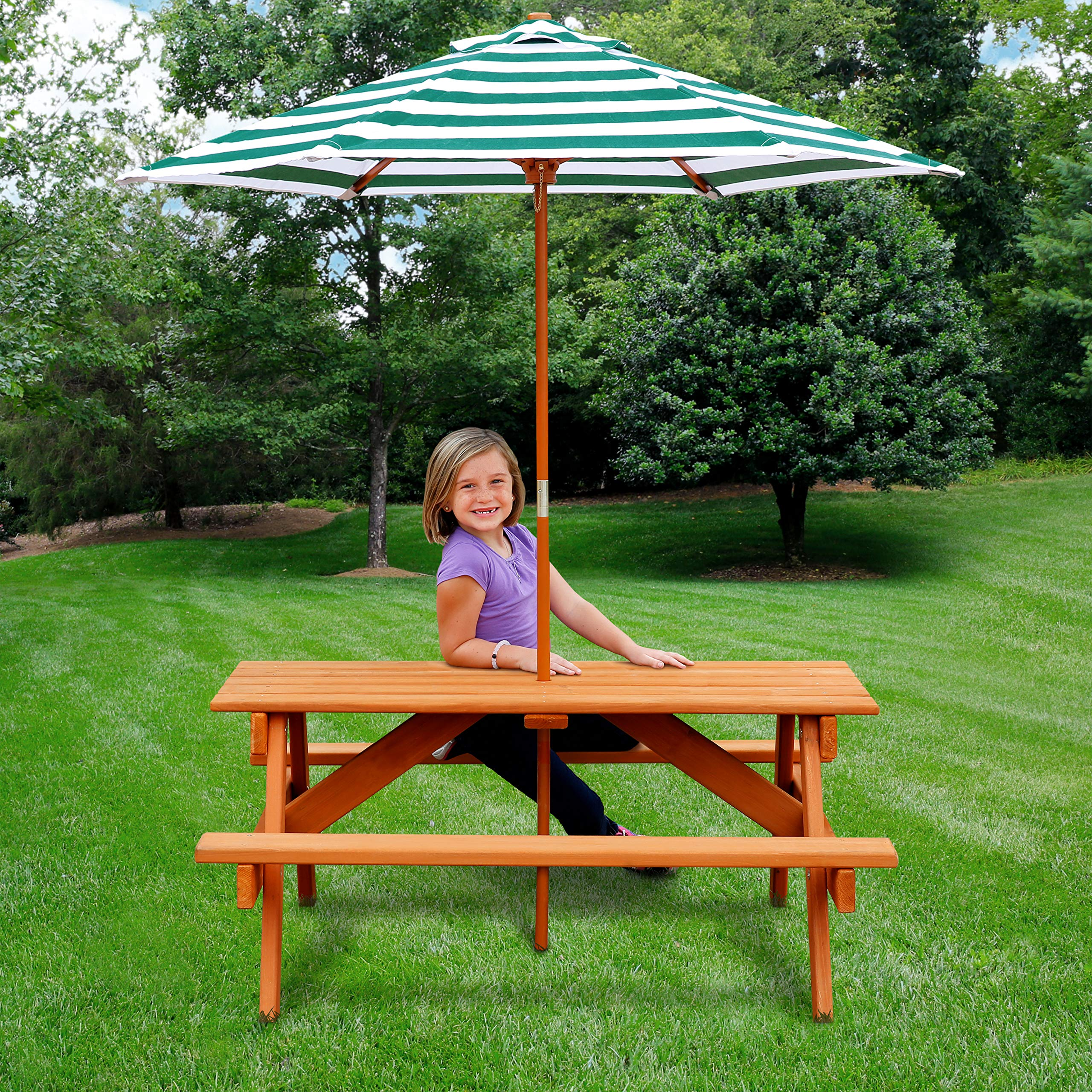 Jur_Global Wooden Children's Picnic Table with Umbrella by Jur_Global (Image #4)